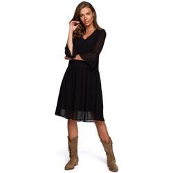 Textil Mulher Vestidos curtos Style S236 Vestido chiffon simples - azul-marinho