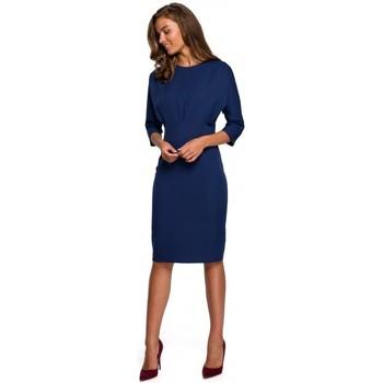 Textil Mulher Vestidos curtos Style S242 Vestido de manga de morcego - azul-marinho