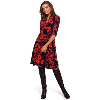 Textil Mulher Vestidos curtos Style S247 Enrolado e vestido flare com estampado - modelo 1