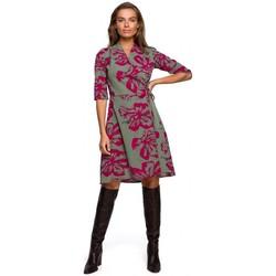 Textil Mulher Vestidos curtos Style S247 Enrolado e vestido flare com estampado - modelo 2