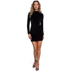 Textil Mulher Vestidos curtos Moe M558 Mini Vestido Turtleneck de Veludo - preto