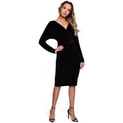 Textil Mulher Vestidos curtos Moe M561 Velvet Wrap Top Dress - preto