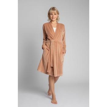 Textil Mulher Pijamas / Camisas de dormir Lalupa LA009 Robe de Veludo com Cinto de Gravata - bege
