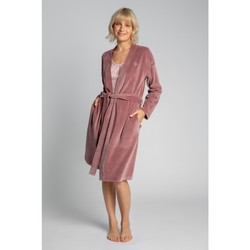 Textil Mulher Pijamas / Camisas de dormir Lalupa LA009 Robe de Veludo com Cinto de Gravata - crepe rosa
