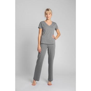 Textil Mulher T-Shirt mangas curtas Lalupa LA014 Algodão Pescoço em V - cinzento