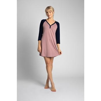 Textil Mulher Vestidos curtos Lalupa LA018 Camisa de dormir em algodão Colourblock - azul-marinho