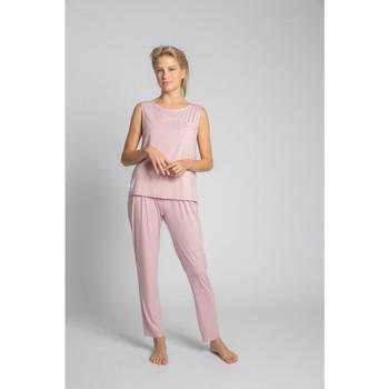 Textil Mulher Tops / Blusas Lalupa LA022 Top sem mangas de viscose com bolso de peito - rosa