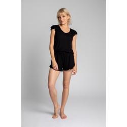 Textil Mulher Tops / Blusas Lalupa LA023 Viscoze Top com mangas desbotadas - preto