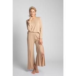 Textil Mulher Pijamas / Camisas de dormir Lalupa LA026 Calças de Viscosa com High Splits - cappuccino