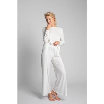 Textil Mulher Pijamas / Camisas de dormir Lalupa LA026 Calças de viscose com divisões altas - ecru
