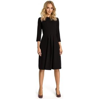 Textil Mulher Vestidos curtos Moe M335 Vestido com pregas de caixa na frente - preto