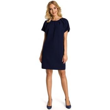 Textil Mulher Vestidos curtos Moe M337 Vestido de Turno com pregas - azul-marinho