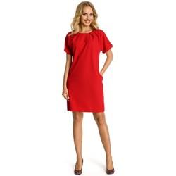 Textil Mulher Vestidos Moe M337 Vestido por turnos com pregas - vermelho