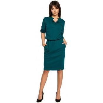 Textil Mulher Vestidos curtos Be B056 Vestido de malha estilo camisa - verde