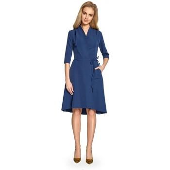 Textil Mulher Vestidos curtos Style S099 Vestido assimétrico de bainha em linha - azul-marinho
