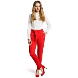 Textil Mulher Calças Moe M363 Calças de chino com cinto - vermelho