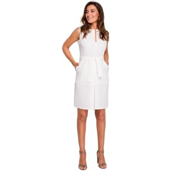 Textil Mulher Vestidos curtos Style S158 Vestido sem mangas de bainha com dobra frontal - ecru