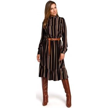 Textil Mulher Vestidos curtos Style S182 Vestido às riscas com um cinto de fivela - modelo 1