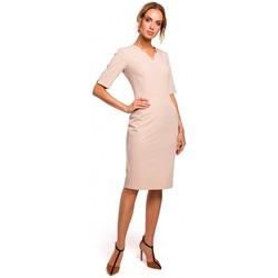 Textil Mulher Vestidos Moe M455 Vestido de pescoço em V - bege