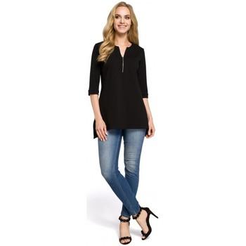 Textil Mulher camisas Moe M278 Blusa túnica com pescoço zipado - preto