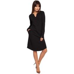 Textil Mulher Vestidos Be B017 Vestido de entalhe de pescoço - preto