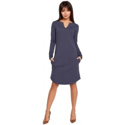 Textil Mulher Vestidos curtos Be B017 Klasyczna sukienka z rozcięciem na dekolcie - niebieska