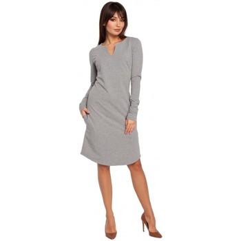 Textil Mulher Vestidos Be B017 Vestido de entalhe de pescoço - cinzento