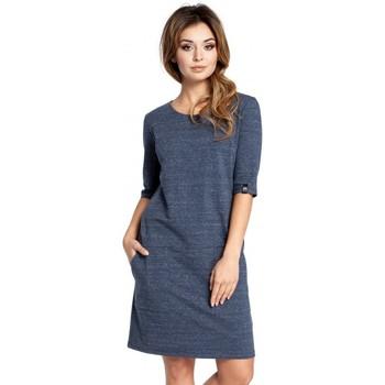 Textil Mulher Vestidos curtos Be B033 Vestido de mudança de caixa - azul-marinho