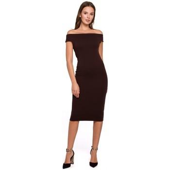 Textil Mulher Vestidos curtos Makover K001 Vestido de malha ao ombro - castanho