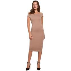Textil Mulher Vestidos curtos Makover K001 Vestido de malha ao ombro - bege