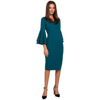 Textil Mulher Vestidos Makover K002 Vestido de bainha com mangas desbotadas - azul-mar