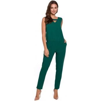 Textil Mulher Macacões/ Jardineiras Makover K009 Fato de salto de uma peça com pescoço em V - verde