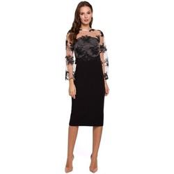 Textil Mulher Vestidos curtos Makover K013 Vestido lápis com guipúra - preto