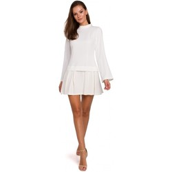 Textil Mulher Vestidos curtos Makover K021 Mini vestido com bainha inferior plissada - ecru