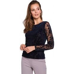 Textil Mulher Tops / Blusas Makover K024 Blusa de renda Flock - azul-marinho