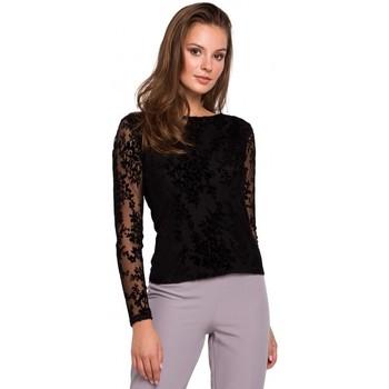 Textil Mulher Tops / Blusas Makover K024 Blusa de renda Flock - preta