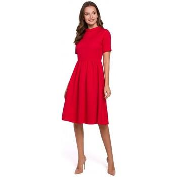 Textil Mulher Vestidos Makover K028 Colarinho enrolado e vestido flare - vermelho