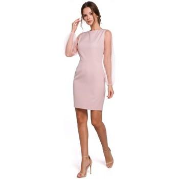 Textil Mulher Vestidos curtos Makover K032 Mini vestido de manga em tule - crepe rosa
