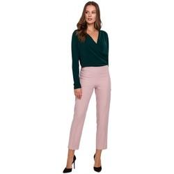 Textil Mulher Calças Makover K035 Calças com cintura elástica - crepe rosa