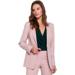 Textil Mulher Blazers Makover K036 Blazer de fundo simples - crepe rosa