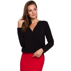 Textil Mulher Tops / Blusas Makover K037 Envolver blusa frontal - preto