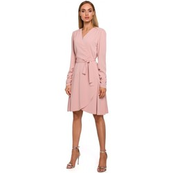 Textil Mulher Vestidos curtos Moe M487 Vestido de embrulho com mangas reunidas - pó