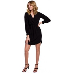Textil Mulher Vestidos Makover K044 Vestido de turno drapeado - preto