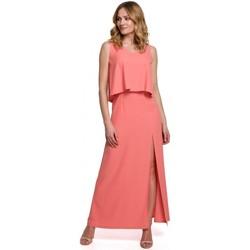 Textil Mulher Vestidos Makover K048 Vestido Maxi com folho - laranja