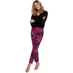 Textil Mulher Calças Makover K053 Calças de perna fina com estampado - modelo 2