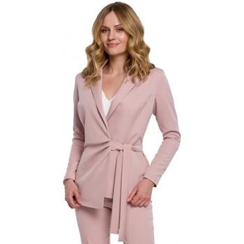 Textil Mulher Blazers Makover K056 Blazer com um cinto de gravata - crepe rosa