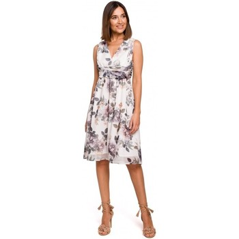 Textil Mulher Vestidos Style S225 Vestido de chiffon com decote de mergulho - modelo 1