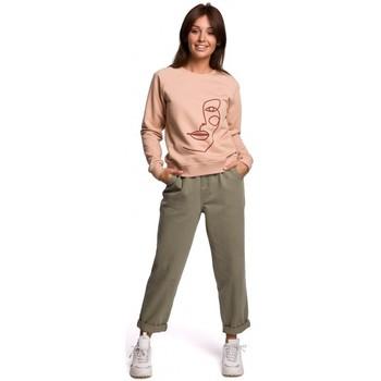 Textil Mulher Sweats Be B167 Pullover top com uma impressão na frente - bege