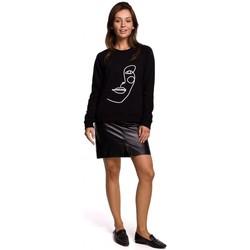 Textil Mulher Sweats Be B167 Pullover top com uma impressão na frente - preto