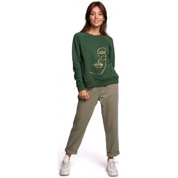 Textil Mulher Sweats Be B167 Pullover top com uma impressão na frente - verde relva